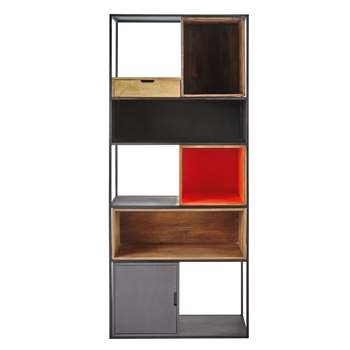 ARTY Metal and mango wood shelf unit in grey / orange W 80cm