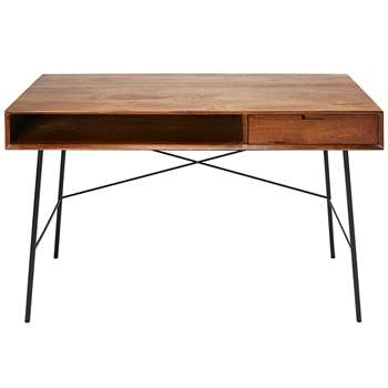 ARTY Solid Mango Wood and Black Metal 1-Drawer Desk (H76 x W130 x D60cm)