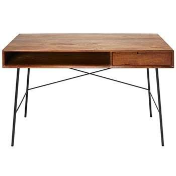 ARTY Solid Mango Wood and Black Metal 1-Drawer Desk (H76 x W130 x D60cm)