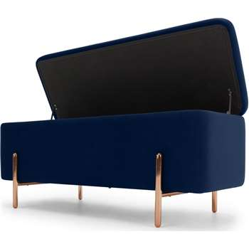 Asare 110cm Ottoman Storage Bench, Royal Blue Velvet & Copper Legs (H44 x W110 x D44cm)