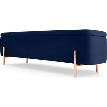Asare 150cm Ottoman Storage Bench, Royal Blue Velvet & Copper Legs (H46 x W150 x D40cm)
