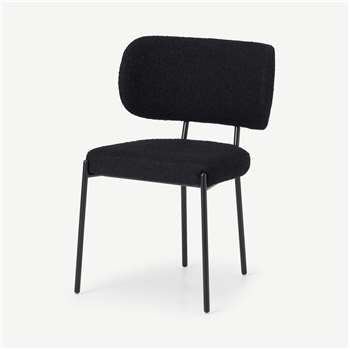 Asare Dining Chair, Black Boucle with Black Leg (H79 x W55 x D56cm)