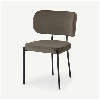 Asare Dining Chair, Latte Velvet with Black Leg (H79 x W55 x D56cm)