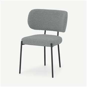 Asare Dining Chair, Steel Boucle & Black Leg (H79 x W55 x D56cm)