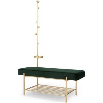 Asare Hallway Storage Bench, Brass and Pine Green Velvet (H170 x W110 x D43cm)