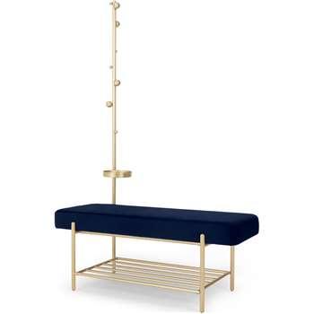 Asare Hallway Storage Bench, Royal Blue Velvet & Brass (H170 x W110 x D44cm)