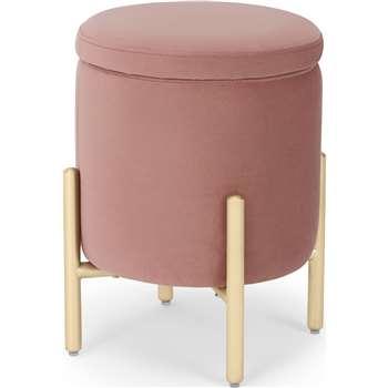 Asare Round Storage Stool, Blush Pink Velvet (H45 x W32 x D32cm)