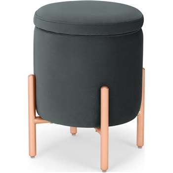 Asare Round Storage Stool, Midnight Grey Velvet (H45 x W32 x D32cm)
