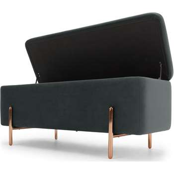 Asare upholstered storage bench,  Midnight Grey Velvet & Copper (H44 x W110 x D44cm)