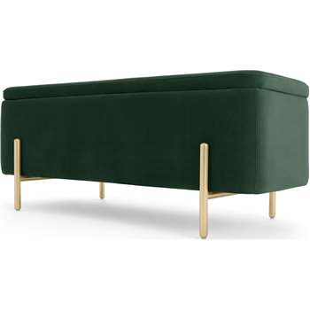 Asare Upholstered Ottoman Storage Bench, Pine Green and Brass (H44 x W110 x D44cm)