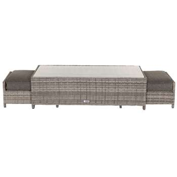 Ascot Rattan Garden Coffee Table with 2 Footstools in Grey (35.5 x 123cm)