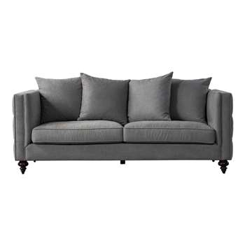 Ascot Three Seat Sofa – Flint Grey (H80 x W210 x D92cm)
