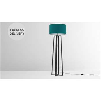 Asher Large Wooden Floor Lamp, Black and Petrol Blue (H165 x W55 x D55cm)
