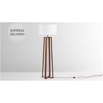 Asher Large Wooden Floor Lamp, Dark Wood Stain (H165 x W55 x D55cm)