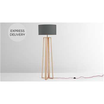 Asher Large Wooden Floor Lamp, Natural (H165 x W55 x D55cm)