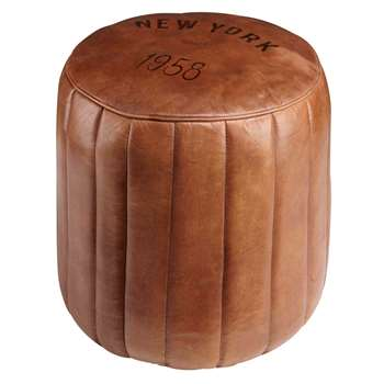 ASHER Round Brown Leather Pouffe (H42 x W44 x D44cm)