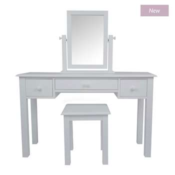 Ashwell Dove Grey 3 Drawer Dressing Table & Stool Set