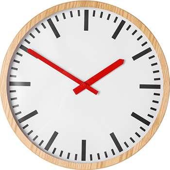 Aslog Large Station Wall Clock, Natural (Diameter 40cm)