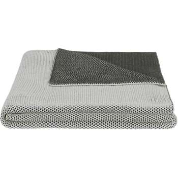Aspen 100% Cotton Knitted Bed Throw, Grey/Off White (150 x 200cm)