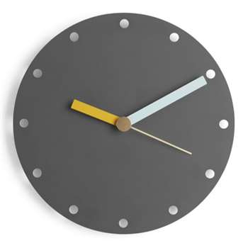 Assembly Tom Pigeon Wall Clock, Charcoal (Diameter 30cm)