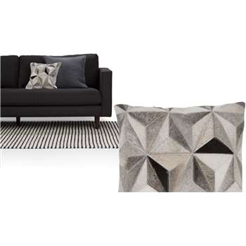 Aster Cowhide Cushion, Tonal Grey (43 x 43cm)