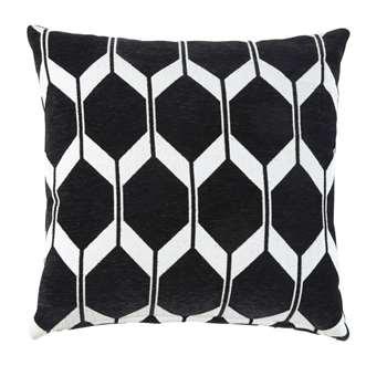 ASTON Black Velvet Cushion with Jacquard Print (H45 x W45 x D10cm)