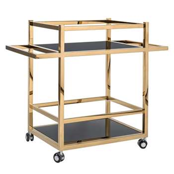 Aston Drinks Trolley - Gold (H75 x W90 x D45cm)