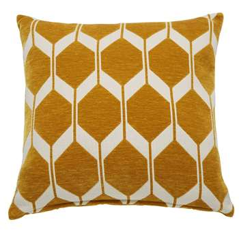 ASTON - Graphic White and Mustard Yellow Cushion (H45 x W45cm)