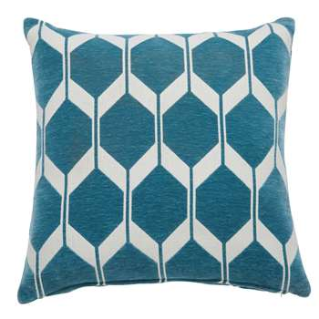ASTON petrol blue patterned cushion (45 x 45cm)