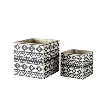 ASTRID 2 Cement Planters with Ethnic Motifs (H25.5 x W25.5 x D25.5cm)
