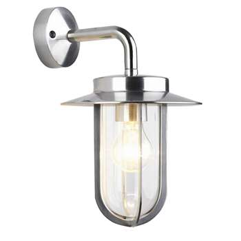 Astro Montparnasse Outdoor Lantern Wall Light, Polished Nickel (30 x 20.5cm)