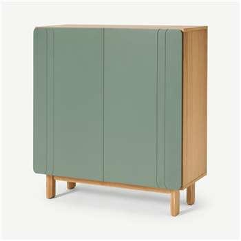 Asuna Hallway Storage Cabinet, Oak & Fern Green (H90 x W80 x D35cm)