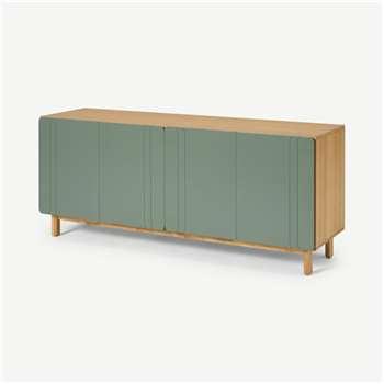 Asuna Wide Sideboard, Oak & Fern Green (H70 x W160 x D45cm)