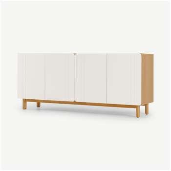 Asuna Wide Sideboard, Oak & Ivory White (H70 x W160 x D45cm)