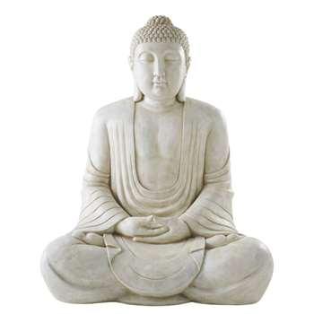 ATAROA - Aged Effect White Buddha Ornament (H146 x W116 x D89cm)