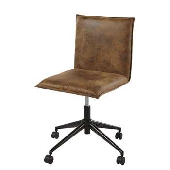 ATELIER HYPE Brown Microsuede Desk Chair on Castors (H93 x W50 x D56cm)