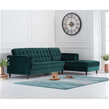 Atlantic Green Velvet Right Facing Chaise Sofa (H87 x W175 x D85cm)