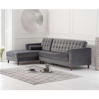 Atlantic Grey Velvet Left Facing Chaise Sofa (H87 x W175 x D82cm)