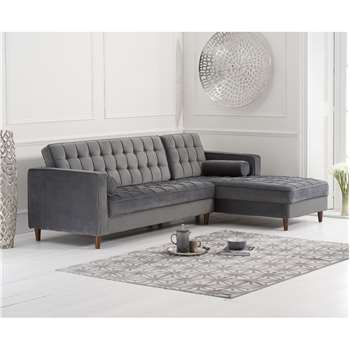 Atlantic Grey Velvet Right Facing Chaise Sofa (H87 x W175 x D82cm)