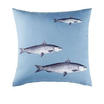 ATLANTIQUE Blue Outdoor Cushion with Fish Print (H45 x W45 x D10cm)