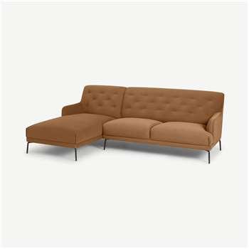 Attwood Left Hand Facing Chaise End Corner Sofa, Golden Amber Velvet (H88 x W253 x D161cm)