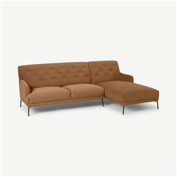 Attwood Right Hand Facing Chaise End Corner Sofa, Golden Amber Velvet (H88 x W253 x D161cm)