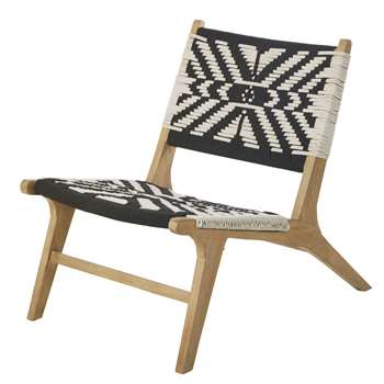 Atzinca Woven Cotton Armchair with Ivory and Black Prints (H74 x W55 x D85cm)