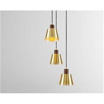 Aubin Cluster Pendant Lamp, Brass & Dark Wood (H120 x W23 x D23cm)