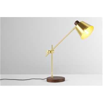 Aubin Table Lamp, Brass & Dark Wood (H61 x W58 x D18cm)