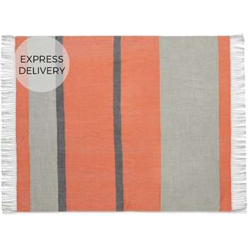 Auburn Throw, Orange & Grey (H130 x W170cm)