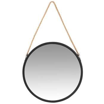 AUDIERNE - Round Hanging Mirror with Cord (H40 x W40 x D4cm)