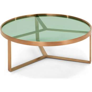Aula Coffee Table, Brushed Copper and Green Glass (H35 x W90 x D90cm)
