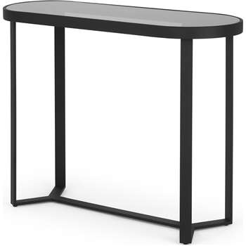 Aula Console Table, Black & Grey Glass (H79 x W100 x D35cm)