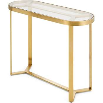 Aula Console Table, Brushed Brass and Glass (H79 x W100 x D35cm)